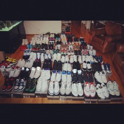 Older pic of the shoe collection #jordan #nike #retro #airjordan #sneakers #nikesb #dunks #foamposite #airforceones #sneakeraddict #swoosh #penny #kobe #kicks #kickstagram #sneakerhead #solecollector #niketalk #hypebeast #retro #sneakaholic #igsneakercommunity #flightclub #fcla #losangeles #shoegame #wdywt #mj #23 #retrojordan #undftd #shoeaddict (Taken with Instagram)