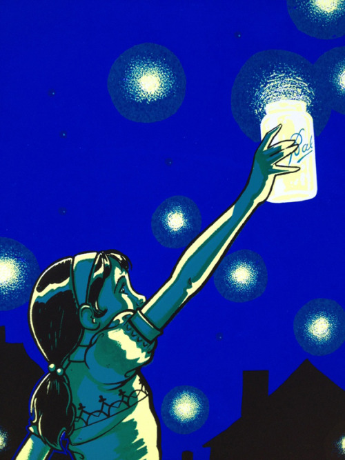 "SOLD OUT!  This is my latest hand-pulled screen print, ""firefly girl"".  Fireflies.  Lightning Bugs.  Glow worms, etc…  Different names, depending on which region of the country you grew up in, but they all meant the same thing.  Growing up in Chicago, June and July meant the lightning bugs were back!  At night my friends and I used to catch them and put as many as possible into jars.  We'd almost always release them before our parents called us in for the night.  Unfortunately, since moving to Florida, we don't have lightning bugs around here.  My kids had never seen a lightning bug and hadn't experienced the fun of chasing and catching them.  That is, until last year, when my daughter went up to Illinois to visit her grandparents for a couple weeks.  She went in June and got to experience the thrill first hand.  This print is a depiction of my daughter's first experience with catching and releasing fireflies.  The nitty gritty:  The print is 18"" x 24"" in size.   Glow-in-the-dark ink.   The edition size is 40 pcs. Signed and numbered  $25.00 + shipping  SOLD OUT!  Available tonight, after 5pm in the Tiny Bird Press webstore."
