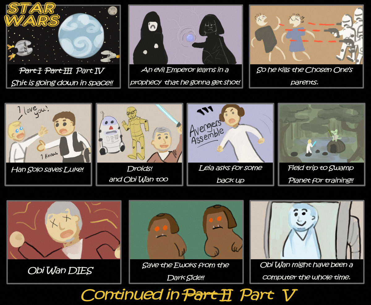 thefeministfangirl:  autumnatticfire:  My understanding of A New Hope.  So my best friend has never seen Star Wars. Her only knowledge of it comes from images and references she has seen in pop culture. Of course I am showing her the trilogy ASAP!! But first, I asked her to tell me what she gathered the movies were about. She drew it instead! Stay tuned for V and VI!