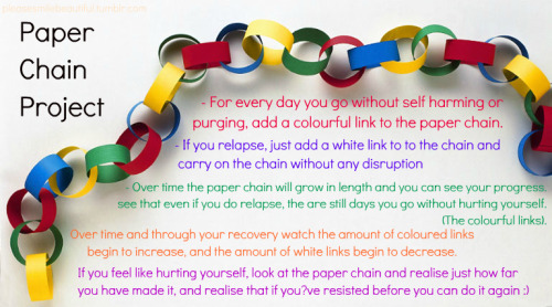 "Trigger warning: self harm, purging   PAPER CHAIN PROJECT - For every day you go without self harming or purging, add a colourful link to the paper chain- If you relapse, just add a white link to to the chain and carry on the chain without any disruption- Over time the paper chain will grow in length and you can see your progress, and see that even if you do relapse, the are still days you go without hurting yourself. The colourful links.- Over time and through your recovery watch the amount of coloured links begin to increase, and the amount of white links begin to decrease.- If you feel like hurting yourself, look at the paper chain and realise just how far you've made it, and realise that if you've resisted before you can do it again :) Please reblog, this could help someone towards recovery. ❤  Gross. Because ""recovery"" is JUST about behaviour modification and conformity to oppressive notions of corporeal ""wholeness"" and obedience, and preserving the integrity of the skin is the sole marker of ""recovery"" and ""health"". Right(!) Self-injury (and here i'm primarily talking about skin cutting and other usually superficial, non life-threatening actions; obviously purging is acutely life-threatening so i'm not commenting on that) is often necessary because the person lacks other coping mechanisms or support networks. Unless the ""recovery"" process involves putting those in place, all that will happen from projects like this is the person is left without an outlet for their emotional pain. Like that's helpful.If self-harm weren't a necessary action, people wouldn't do it. If they had other, as effective (or more effective) ways to deal with emotional distress, don't you think they would use those? But they don't—which indicates that they don't exist!  I can't support or even understand projects like these that seek to sacrifice someone's emotional wellbeing for the sake of their skin. Shaming people for trying to cope with emotional pain in the only way they know how, or in the only way that's available to them, is fucked up and totally wrong."