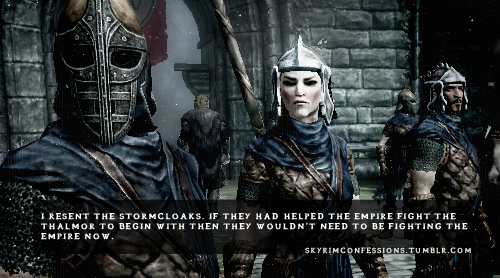 "skyrimconfessions:  ""I resent the Stormcloaks. If they had helped the empire fight the Thalmor to begin with then they wouldn't need to be fighting the Empire now.""   http://skyrimconfessions.tumblr.com/"