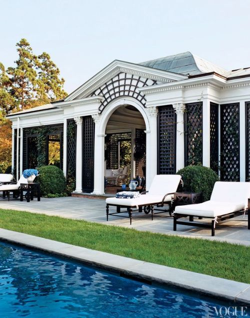 livingpierside:  [Poolside at Tory Burch's estate]