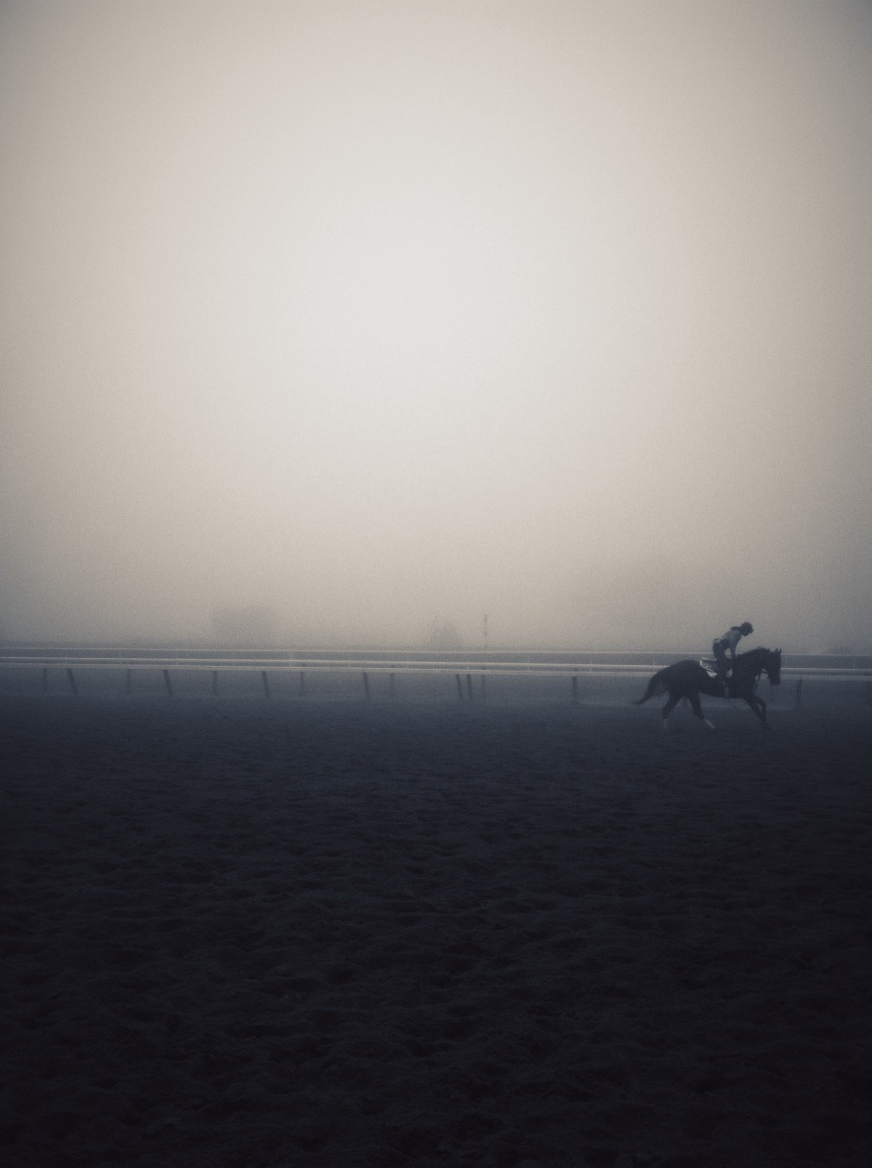 The historic Saratoga Race Course through the fog at sunrise on Saturday, July 22nd.  Two friends and I woke up at the crack of dawn to secure a picnic table for the day of racing. We had an early morning breakfast beside the track and watched some horses do their morning workout.