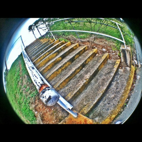 #fisheye #rails #stairs #popular #dope #yellow   (Taken with Instagram)