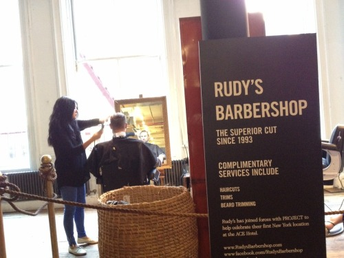 Complimentary cuts celebrating @RudysBarbershop's first shop at the Ace Hotel. #PriojectNYC