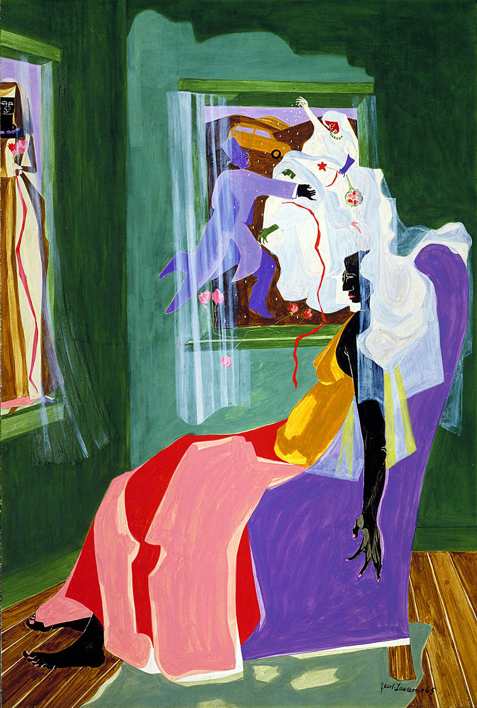 cavetocanvas:  Jacob Lawrence, Dreams No. 2, 1965 From the Smithsonian American Art Museum:  Jacob Lawrence was inspired by the women in his Harlem neighborhood. Like his own mother, they worked hard to support their families and survived on very little money. In this painting a girl rests on a chair in front of two large windows. In one, a tall, elegant lady stands with a bouquet of flowers and in the other, a bride and groom dance and throw confetti. Windows and doorways were focal points of New York's brownstone neighborhoods, creating a link to life on the streets outside. But the bride and groom are clearly in a landscape beyond the city, and in this sense the windows have become screens onto which the young woman projects her fantasies.