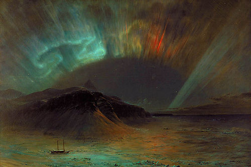 "Aurora Borealis by Frederic Edwin Church, 1865 From the Smithsonian American Art Museum: The ship and sled team in this image belonged to Frederic Church's friend, polar explorer Dr. Isaac Hayes. Hayes had led an Arctic expedition in 1860, and gave his sketches from the trip to the artist as inspiration for this painting. Hayes returned from his voyage to find the country in the thick of the Civil War, and in a rousing speech vowed that ""God willing, I trust yet to carry the flag of the great Republic, with not a single star erased from its glorious Union, to the extreme northern limits of the earth."" Viewers understood Church's painting of the Aurora Borealis (also known as the northern lights) as a portent of disaster, a divine omen relating to the conflict."