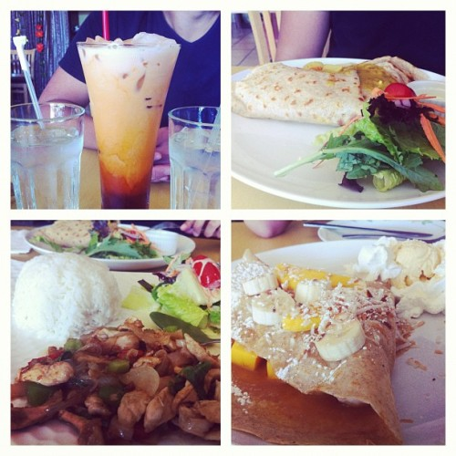 Thai iced tea, chicken yellow curry crepe, Thai basil chicken, and a coconut/pineapple/banana/mango crepe! Yum! #foodporn #nomnation #thai #crepe (Taken with Instagram)