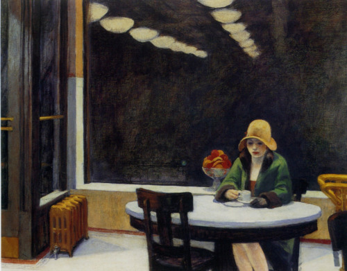gatsbylives:  i12bent:  Just time for one Edward Hopper for his 130th: Hopper (July 22, 1882 - 1967), painted the loneliness of American cities better than anyone else, but also the vibrant colours of American landscapes and waters. Above: Automat, 1927 - oil on canvas (Des Moines Art Center, Des Moines)  Hopper's work has always really resonated with me. This one happens to be one of my favorites…