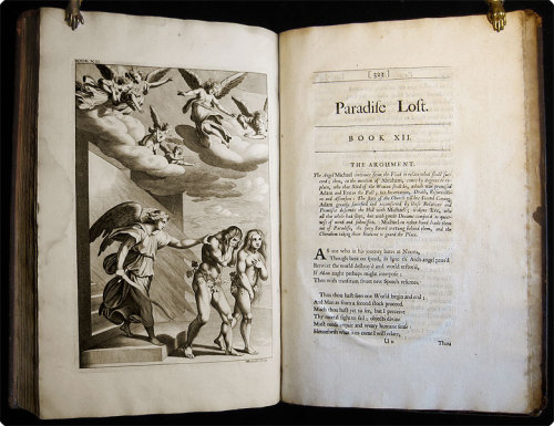 "Paradise Lost: A Poem in Twelve Books. John Milton. London: Pr. by Miles Flesher for Jacob Tonson, 1688.  ""The fourth edition, adorn'd with sculptures"" — that is to say,the first illustrated appearance of Paradise Lost, as well as what Hodnett calls ""the earliest serious effort to illustrate an important work of English poetry"" — andthe first folio edition to boot — Pforzheimer noting that this is additionally the first publication of Dryden's lines on Milton."