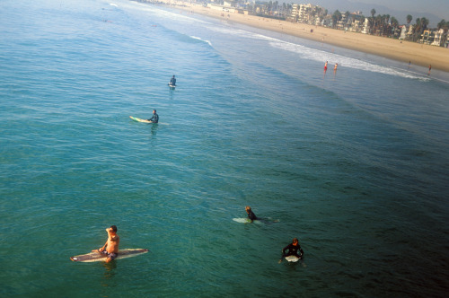 thedreamish:  Winter surfers at Venice Beach. Leica IIIa. Velvia 50.