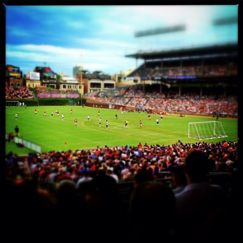 Soccer at Wrigley Field was excellent! #iphone #645pro #snapseed #tiltshift #chicago #soccer #wrigleyfield  (Taken with Instagram at Wrigley Field)