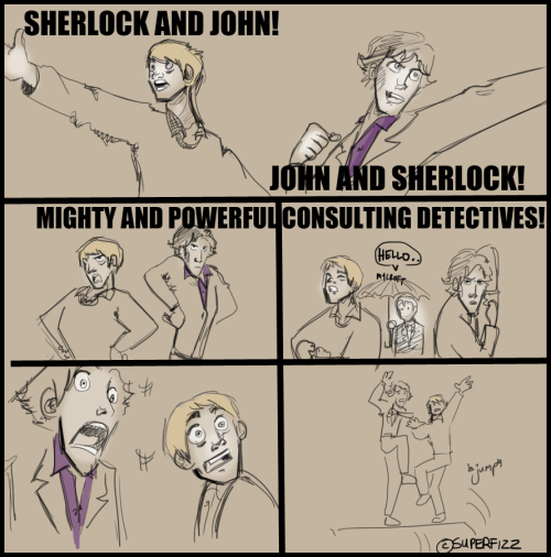 nodaybuttodaytodefygravity:  sherlockcrossovers:  Sherlock/TRTE: Consulting Gods - SuperfizzMy. Otps. All. In. One.    OMG MYCROFT IS CHEL AND LIFE IS PERFECT