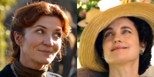 Catelyn Stark side-eyeing Cora Crawley side-eyeing Catelyn Stark (submitted by maladicts)
