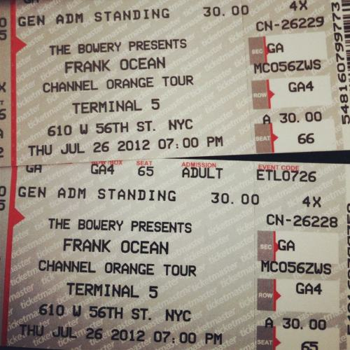My blog has been 75% Frank Ocean lately. I'm gonna see him again this Thursday! I was like 5ft away from him at Jimmy Fallon, but he only played one song. I got these tickets from this rando on Craigslist. I thought I was gonna get murdered. I didn't tho. I might have if I smoked with him like he offered after I gave him the money. lol