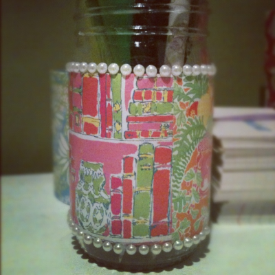 Old Lilly agenda pages+mod podge+ pearls= new pencil holder