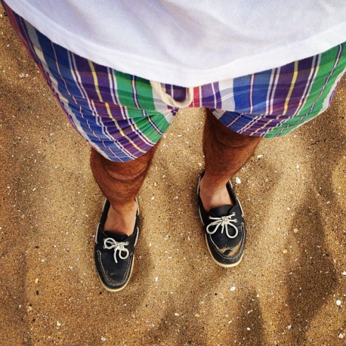Beaching it up. #ootd #prep #preppy #whatiwore #wiwt #iamwearing #fashion #style #menswear #summer #beach #shoes #lookingdown  (Taken with Instagram)