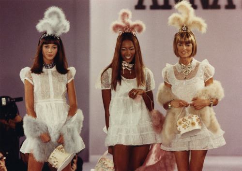 Christy Turlington, Naomi Campbell, and Linda Evangelista at Anna Sui S/S 1994
