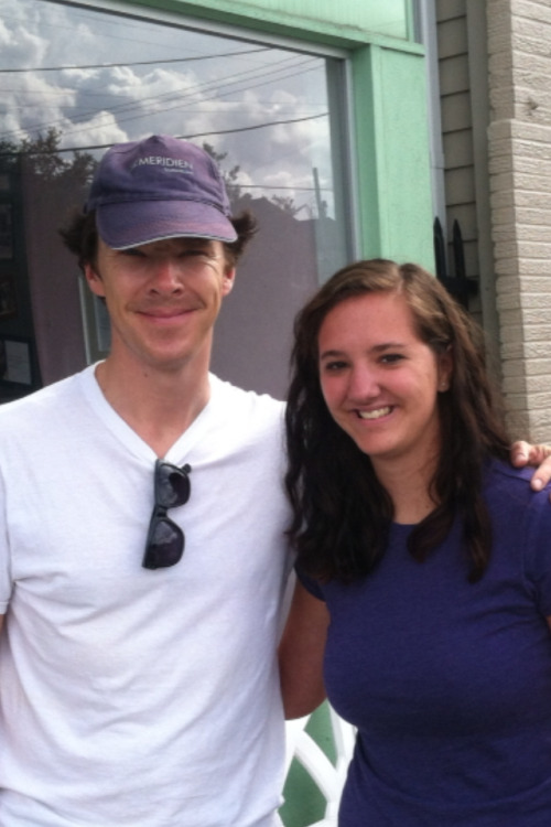 "aslytherinsuperwholockian:  stars-will-whisper:  I met Benedict Cumberbatch today at an ice cream shop in New Orleans. I'm visiting from New Mexico for a conference, and a friend of mine lives here and took me out to the place today. We were sitting maybe five minutes and I look up see him walking in. I freaked out. On the inside. And stared like a freak. Benedict Cumberbatch just walked into the ice cream shop. Him and his friend ordered ice cream, and because people are asking he got some sort of coffee flavour I believe but not 100% sure in a waffle cone, and then proceeded to sit at the table next to us. Freaking out. Anyway I was trying to explain to the other girls I was with, one had no idea and the other had heard of him, and I was dying. I didn't want to be that annoying person, so I waited until they were finished to approach him. He gets up to walk out and I get up too and say ""Excuse me sir"" and he turns and looks at me and I say ""I don't mean to be a bother, but I'm a huge fan of yours"" And he breaks out into this huge grin and kinda looks at the floor and says ""thank you!"" and I'm clutching my phone and I say ""I'm sorry, but could I get a picture with you?"" and he says ""of course!"" and we go outside. Because I'm freaking out I start blabbing and I said ""I'm sorry I'm not from here I'm just very excited to meet you."" and he laughs and says ""I'm not from here either!"" (I died). He asks where I'm from and I say ""Las Cruces, New Mexico."" and he stops and thinks and asks ""where again?"" and I say ""Las Cruces, New Mexico"" and he repeats it and nods slowly. He turns to his friend and asks if he would take a picture, and his friend said ""sure no problem!"" Benedict comes next to me and PUTS HIS ARM AROUND ME and I put my arm around him and felt his back and I died again. His friend took the picture and said ""I think I got it!"" and Benedict said to me ""pull it up, make sure it's a good one!"" so I do and we all 3 look at it, me still freaking out that he's 3 inches from me, and he says ""it's a great one!"" and I died. He then asked why I'm in New Orleans and I explained that I was here for a volunteering conference to help clean up the city. He turns and looks at me and says ""I've seen thousands of you guys everywhere!"" he asks when I'm leaving and I say ""tomorrow."" He starts slowly walking away as I say ""thank you so much!"" and then I just blurted out ""We're all waiting!"" and he stops walking and laughs and says ""you know I do other things! But we are going to start filming in January and I believe it'll be out next fall!"" He waves, says to have a safe trip home, and walks away, and I walk back into the store, a world completely oblivious to everything that happened.  next fall"