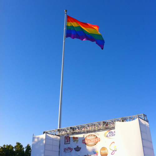 The Rainbow Pride Flag was raised on Friday night at the Stonewall Rally and Hillcrest Block Party kick-off to Pride weekend… It's so beautiful!!