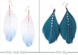 littlecraziness:  (via Quiet Lion Creations: ASOS Feather Gem Drop Earrings)