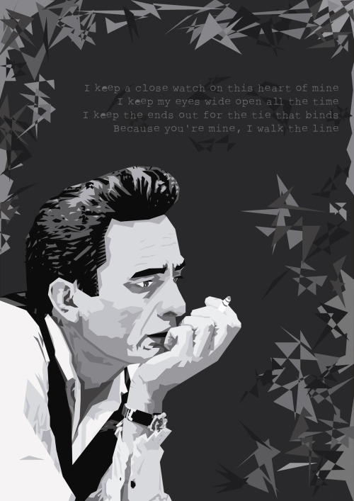 poster: johnny cash, I walk the line  more geometric music posters