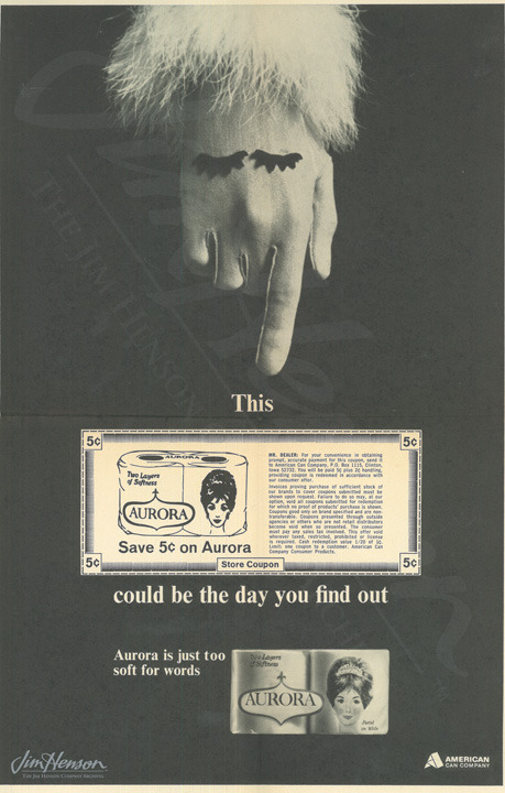 Print advertisement for Aurora Bath Tissue featuring the gloved hand from Jim's commercial.