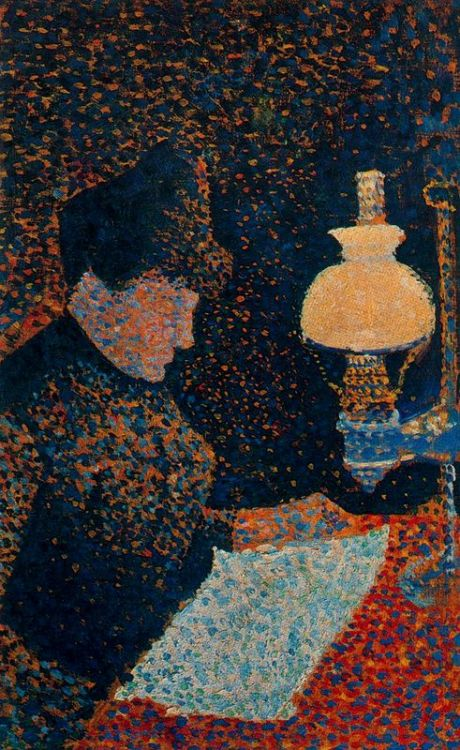 "windypoplarsroom:  Paul Signac ""Woman by Lamplight"""