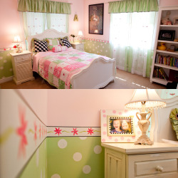 Super cute decorative paint and mural work in girl's bedroom. This design was inspired by the picture frame in the lower picture. Mom loved the frame and had purchased most of the bedding. She knew that she wanted pink and green but beyond that she left the design up to me. I did the painting as well as the black and white throw pillows and the valences. I painted this room years ago but it is still one of my favorites. I think because, as a kid, it would have been my dream room. Polka dots and daises… what more could a little girl want?