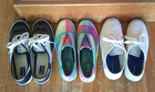 a mini-collection of keds that i hope to continue growing :) (they all happen to be different sizes too, lol. W5.5, W5, and Y4.5)