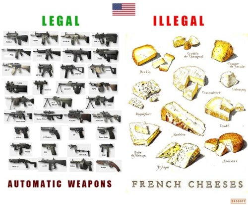 lickystickypickywe:  think-progress:  LEGAL: Automatic weapons ILLEGAL: French cheeses  the US of A and I need to have some words..  But Automatic weapons are ILLEGAL in the US. Only under special conditions can they actually be automatic. Or is that just my state -.-