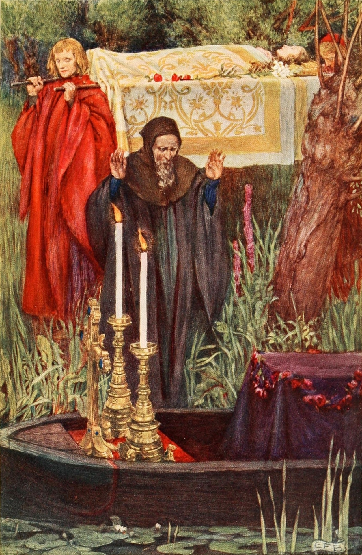 Eleanor Fortescue-Brickdale ~ Idylls of the King by Alfred Lord Tennyson ~ 1913 ~ via Illustration for Elaine So those two brethren from the chariot took and on the black decks laid her in her bed.