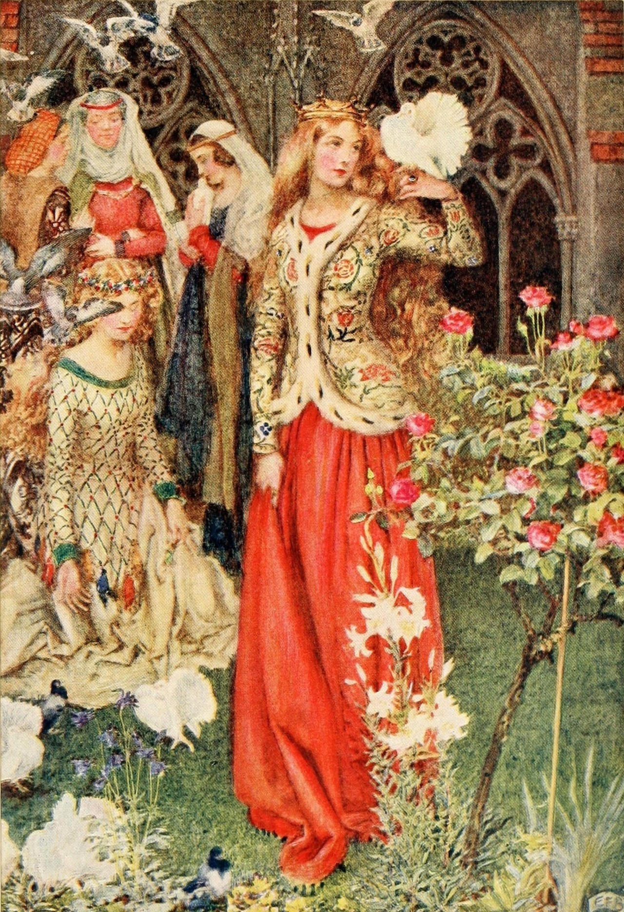 Eleanor Fortescue-Brickdale ~ Guinevere ~ Idylls of the King by Alfred Lord Tennyson ~ 1913 ~ via Illustration for Guinevere As in the golden days.