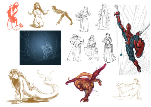 Some of my work in progress and a few meaningless sketches.  Spiderman, Nazgul, and a dragon creature are some of the WIPs. :) . Also, I'm seeing signs of carpal tunnel at 21. ;_;