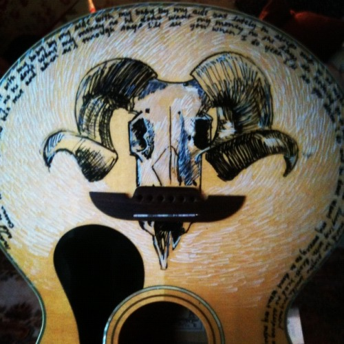 aleeshakozar:  did some guitar art for a daniel and the lion fan. turned out better than expected. sharpie paint markers, everyone. datlband.com  This is my guitar! Can't wait to get it back, it looks fantastic!
