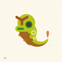 no. 010Caterpie Its short feet are tipped with suction pads that enable it to tirelessly climb slopes and walls.