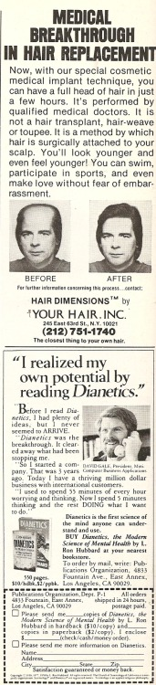 A hair restoration ad that looks very real. And a Scientolo - err, Dianetics ad. From Playboy, July 1978.
