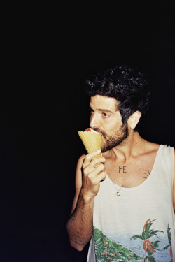 ikebana-albums:  Devendra eating an ice-cream in Montenegro