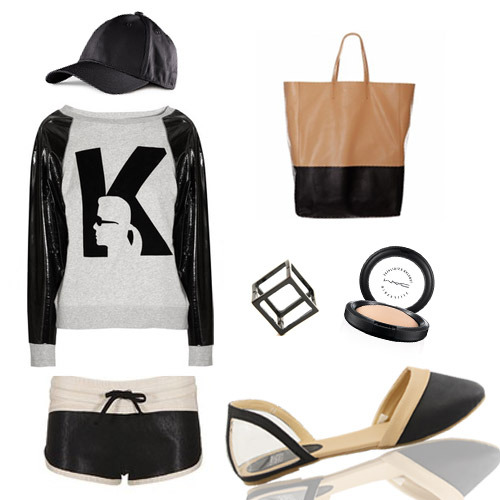 POSH SPORTY SPICE  H&M Leather cap / KARL by Karl Lagerfeld raglan sweater / Isabel Marant running shorts / Ford cube ring by Gold Dot / MAC Mineralize Skinfinish / Celine tote bag Leave the old sweatpants and gym shirts  in the locker room  and redefine sports-luxe wear with these pieces.. Panels and Lines , drawstrings,  and all those athletic details got an upgrade to streamlined hi-style. Pair them cool activewear pieces with our latest HERMIE flats in beige and be ahead of the game. Round Toe , cut out ballet flats , contrasting classic neutrals with clear PVC for an updated sensibility.  Click here to shop