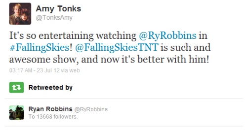 mercury205:  I GOT RETWEETED BY RYAN ROBBINS!!! I'm really very happy right now!