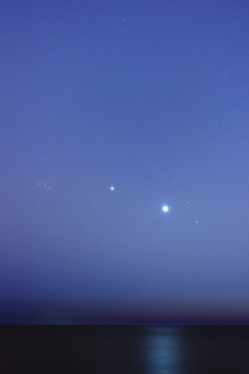 unknownskywalker:  Conjunctions near Dawn  by Luis Argerich The bright planets Venus and Jupiter join the Pleiades star cluster in this sea and sky scape, recorded in early June 2012 near Buenos Aires, Argentina.