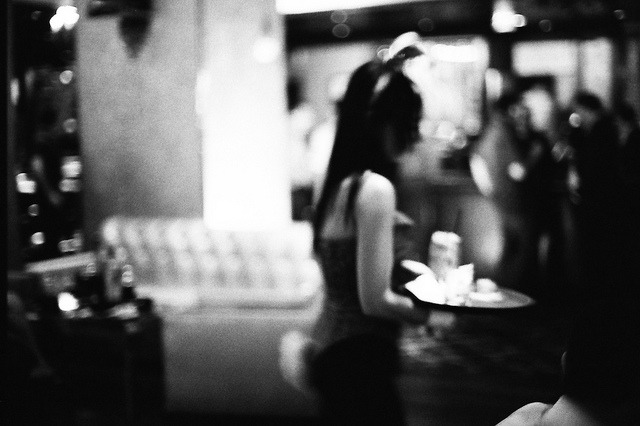 waitress on Flickr.Via Flickr: Playboy Club at The Palms. Las Vegas.  Nikon F3 HP | Nikkor 50mm f/1.2 | Ilford HP5 Plus @ 800