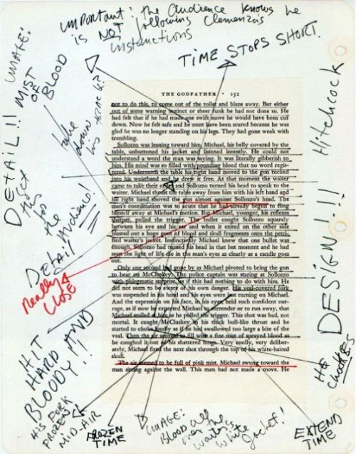 "aftoiasis:  F. F. Coppola's notes on page of "" The Godfather "" novel  ""Mist of Blood"""