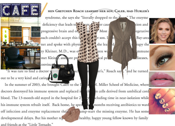 A Date in a Cafe by kknorri featuring a wedge bootie