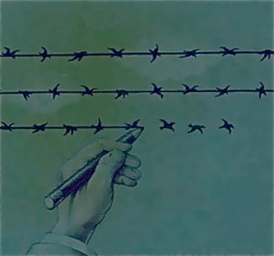 sshithappenss:   The difference between Freedom & Slavery is one thin line.  woah.