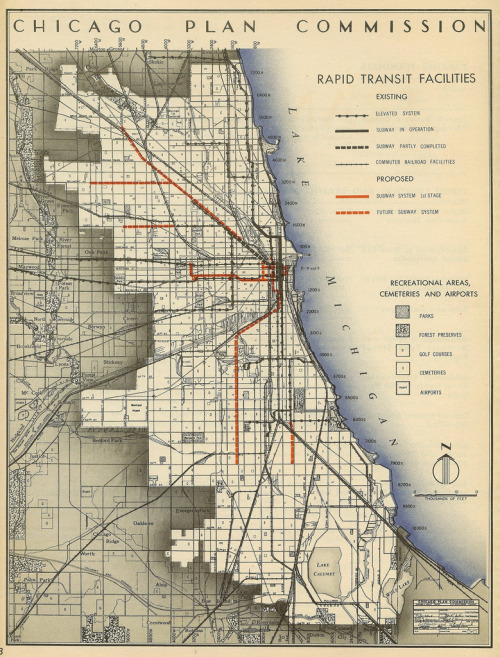 "transitmaps:  Historical Map: Chicago Plan Commission - Rapid Transit Facilities, 1945 Here's a gorgeous pre-CTA planning map from Chicago in 1945, outlining all sorts of grandiose ideas for expansion of the subway system, almost none of which have actually come to pass. There appears to be a proposed second Loop, which would have run more east-west than the existing one. There's also a planned subway line heading out to the northwest, but this doesn't follow the same alignment as the Blue Line, and a subway line running along Belmont Avenue. Have we been there? Yes. What we like: Awesome old-school cartography at its finest. The shading to show the city limits is quite beautiful. The map looks gorgeous at larger sizes (click through to take a look!) What we don't like: Limited use of colour (almost certainly due to wartime austerity measures) does make some detail hard to make out. The blobs on the ""L"" lines don't represent stations; it's just the type of linework used to differentiate it from other lines, such as roads. Our rating: A glimpse at what might have been, but never was. Fantastic! Four-and-a-half-stars.  (Source: Eric Fischer/Flickr)  FILM: The Last Pullman Car"