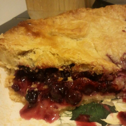 Oh yeah, and the #blueberry #raspberry #pie I baked yesterday was delicious. This is what's left. #baking  (Taken with Instagram)
