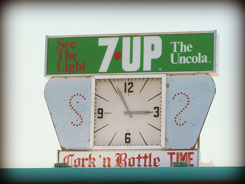 vintage 7-Up signage and clock (photographed in Cortez, Colorado by jimsawthat)
