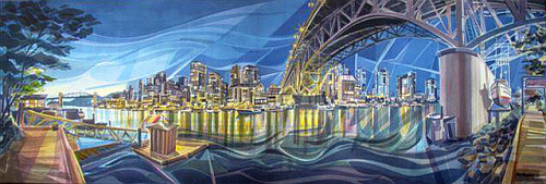 From Granville Island, a canvas by artist Jack Campbell. From his website:  For fourteen years Jack taught drawing and painting workshops for the Emily Carr Institute of Art and Design Outreach Program and for eight years taught full time at the Kootenay School of Art in Nelson. He continues to teach at various summer schools and art organizations through the province. Raised in New Westminster B.C., Jack has been a painter and graphic designer since graduating as an honor student from the Fourth Year Program of the Vancouver School of Art (Emily Carr Institute of Art and Design).Jack has had over 30 one man exhibitions in British Columbia of his drawings, paintings and paper sculptures. He also has participated in many group shows in Western Canada and Washington. His work is in private and corporate collections throughout North America and Europe.