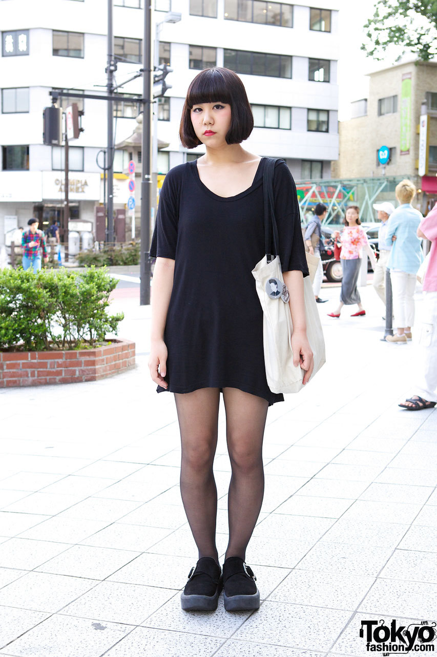 American Apparel t-shirt dress & Tokyo Bopper shoes in Harajuku.